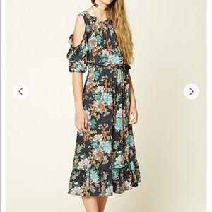 Cold Shoulder floral print dress BOHO hippie