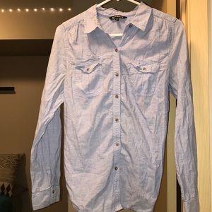 """Light Blue """"Denim"""" Button Down Shirt"""