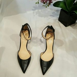Black/gold leather pumps with ankle straps
