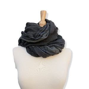 Large charcoal & blue wool scarf