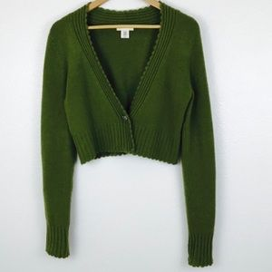 Anthro Sleeping on Snow Green Crop Cardigan Wool