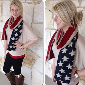 American Flag Long And Chunky Scarf