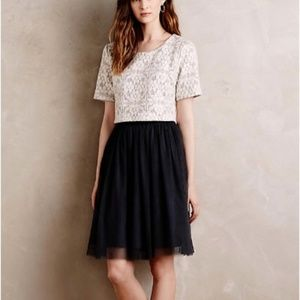 Anthropologie Grey Laced Tulle Dress