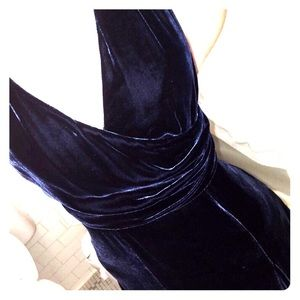 Dark Blue Velvet Dress