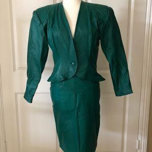 Vintage Faux Leather Pencil Skirt & Blazer