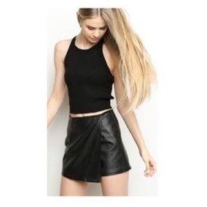 Black Leather Skort