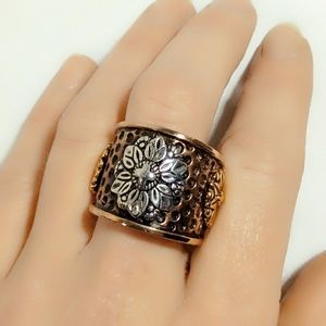 Vintage Amy Kahn Russell Sterling & Bronze Ring