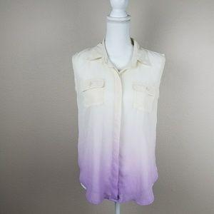 Sleeveless Ombre Fade Button Shirt Chiffon Unicorn