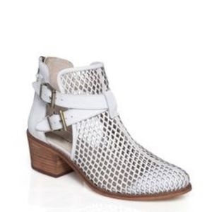 Suede caged White perforated ankle booties