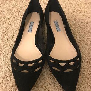 Prada pointed toe black suede shoes