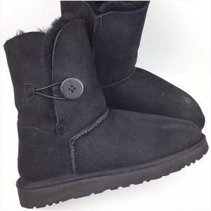 UGG Bailey Button Black Sheepskin Short Boots