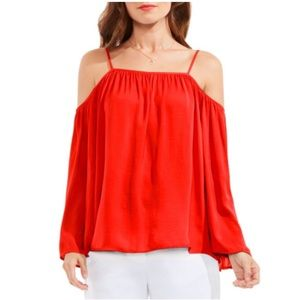 Vince Camuto Rumple Cold Shoulder Blouse -Red Hot