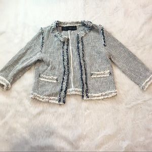 Zara Tweed Quarter Sleeve Blazer
