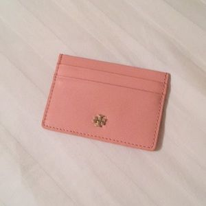 Salmon Pink Tory Burch Robinson Slim Card Case