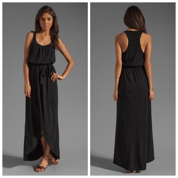 Michael Stars Dresses Racerback High Low Maxi Dress Black Poshmark