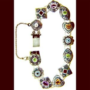 AntiqueSS Slide bracelet w/natural gems&12 slides