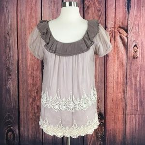 Floreat Mauve Lace Mesh Overlay Ruffle Top Blouse