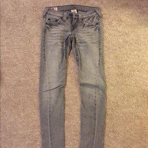 TRUE RELIGION Distressed Skinny Gray Jeans Sz 24