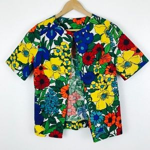 Vintage Floral 70s Repurposed Short Sleeve Top