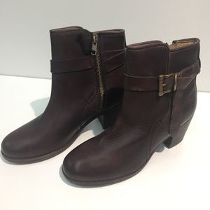 FRYE Malorie Knotted Short Brown Leather Boots