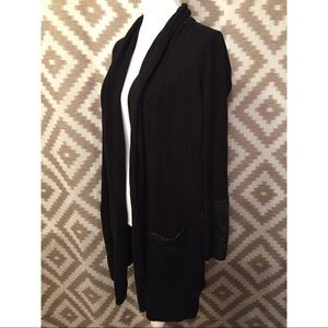Chico's Black Label Black Leather Detail Cardigan!
