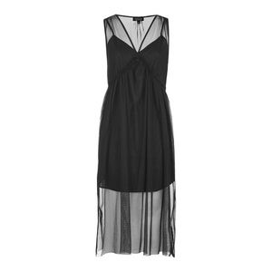 TOPSHOP Women's Black Tulle Sleeveless Midi Dress