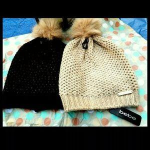 New! Bebe Knitted Pom Pom Beanie-brown