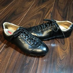 PRADA Black Leather Casual Women's Shoes Size 36.5