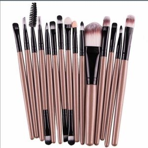 Make up brushes 15 pcs gold