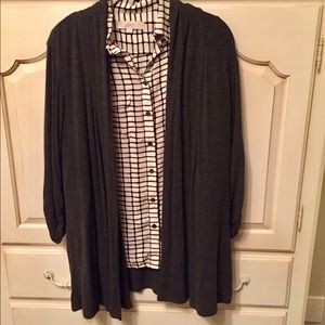 Gray Drape Front Cardigan with Cinched Sleeves