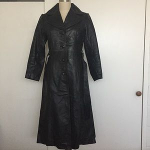 Vintage Full Length Leather Trench Coat
