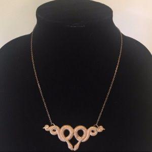 Jewelry - Medusa Gold Embossed Snake Vintage Necklace