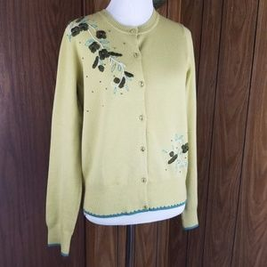 CAbi sz M button down embroidered flowers cardigan