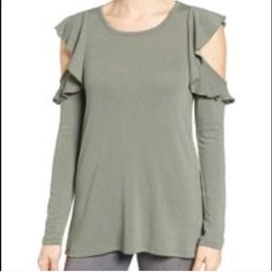 Pleione Green Dune Ruffle Sleeve Cold Shoulder -XL