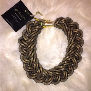 Jewelry - Black & Gold sheer lace necklace