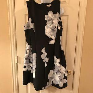 Calvin Klein Black floral scuba dress