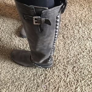Grey Steve Madden studded boots