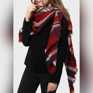 Accessories - Multicolored Plaid Blanket Scarf