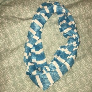 blue and white striped infinity scarf