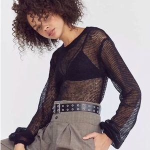 Urban Outfitters sheer Sweater pullover black NWT