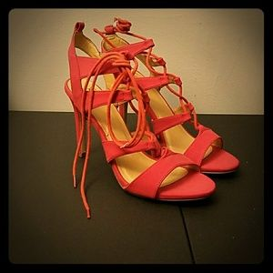 Pink Coral Blush High Heel Lace Up Shoes