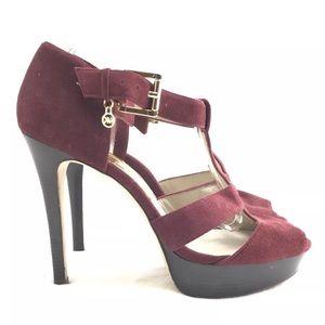Michael Kors Burgundy velvet Heels sz 10 pumps