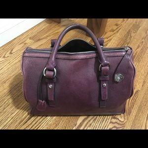 Tumi leather doctor satchel handbag purple medium