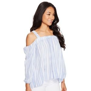 Vince Camuto Cold Shoulder Blouse Stormy Blue NWT
