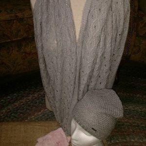 Calvin Klein hat, silver knit scarf, soft gloves