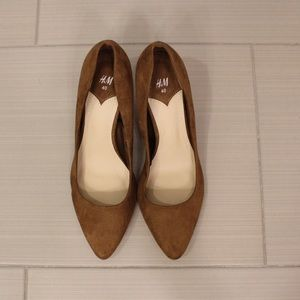 Carmel Brown Faux Suede Pointed Pumps