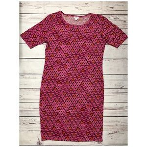 LuLaRoe Julia Dress Pink Aztec XL
