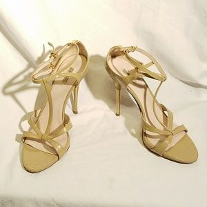 MIU MIU Open Toe T-Strap Metal Heel Sandal