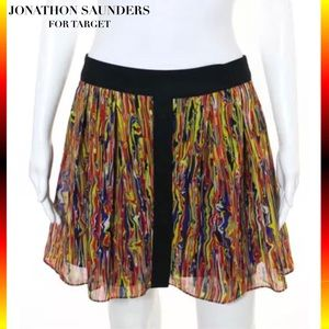 JONATHON SAUNDERS Sheer Red Abstract Button Skirt