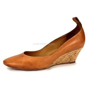 Chloé Italy Classic Leather Cork Wedge Low Heels